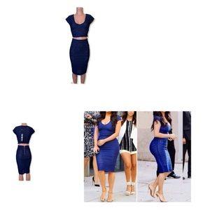 Kardashian Kollection Blue Lace Crop Top Skirt